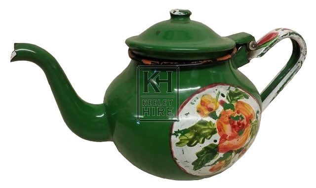 Enamel teapot painted with flowers