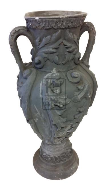Grey plaster funeral urn