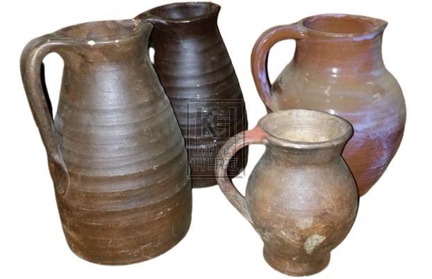 Assorted Brown Earthenware Jugs