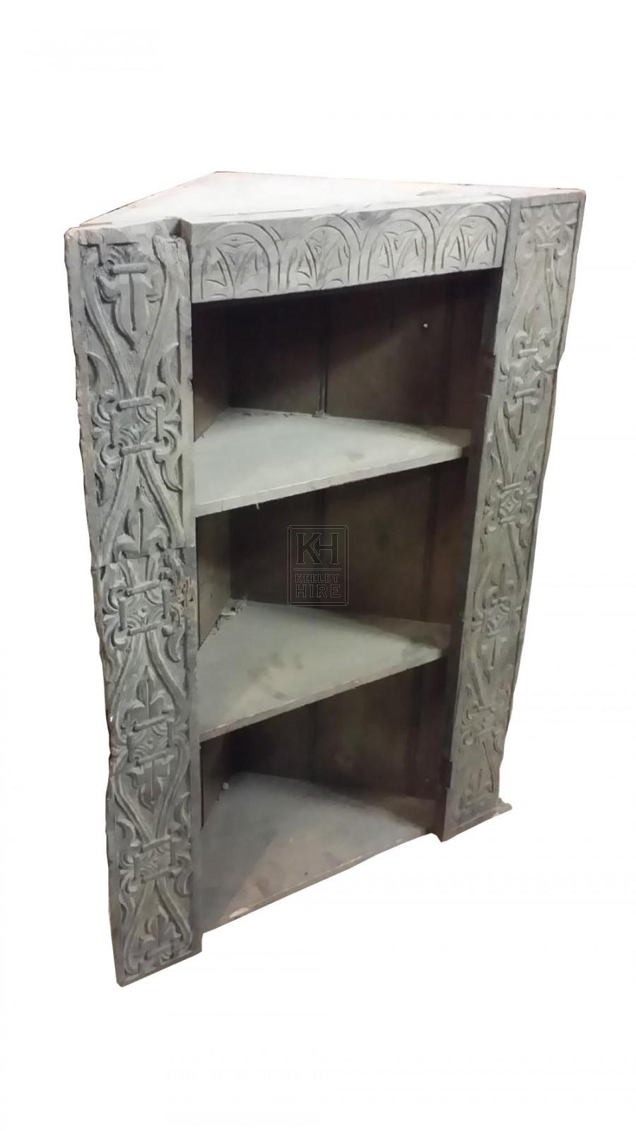 Light wood carved corner unit