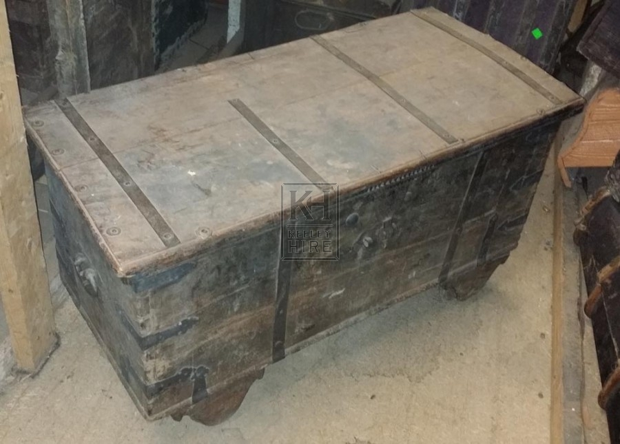 Iron and wood trunk with latch