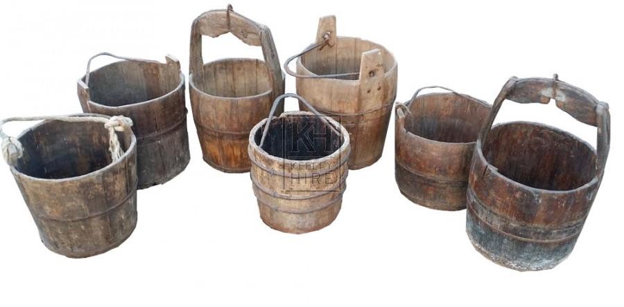 Assorted wood buckets