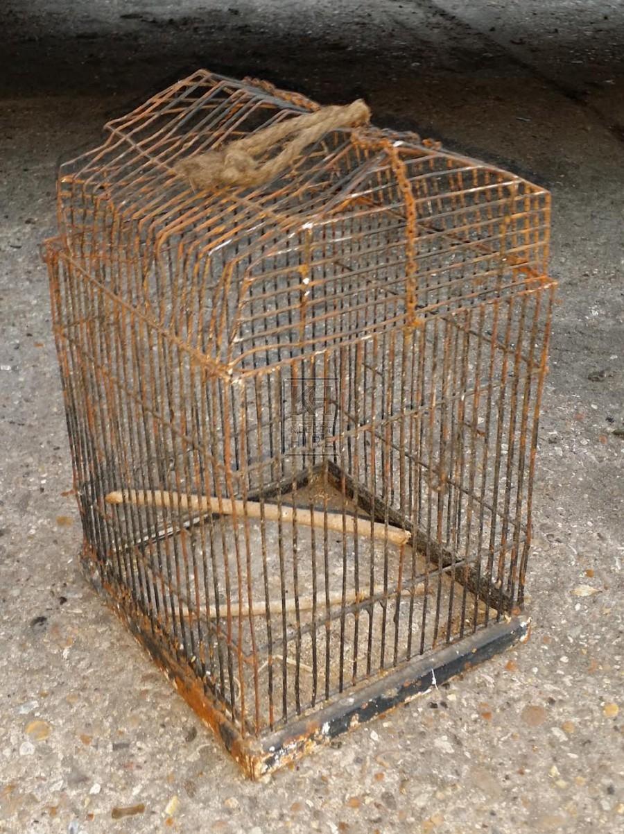 Rusty iron bird cage
