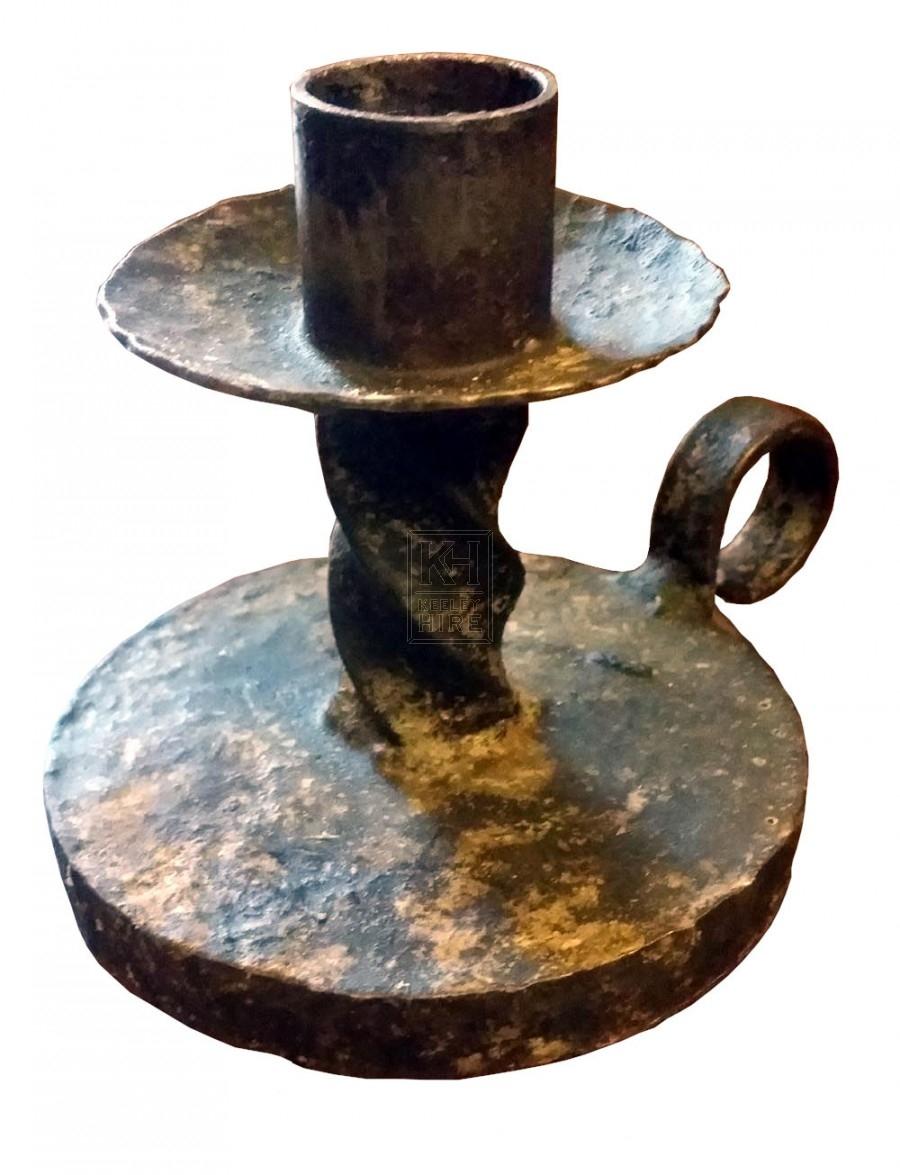Iron twisted candle holder