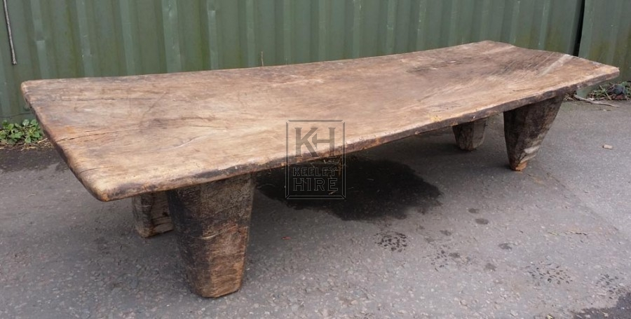 Low thick wood bench with short legs