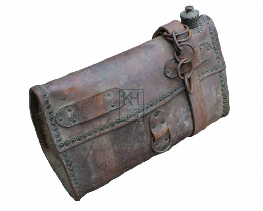 Leather water carrier with silver lid