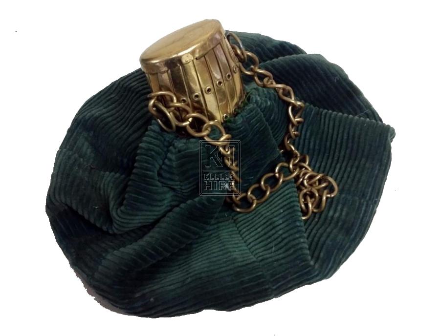 Green velvet bag with brass top