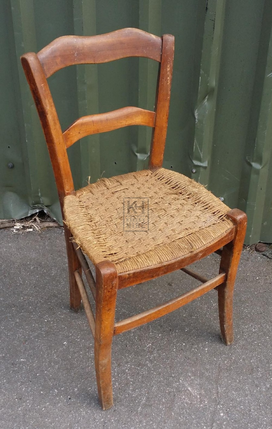 2-bar back shaped wood straw seat chair