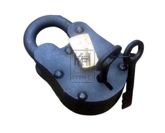 Small iron padlock with key