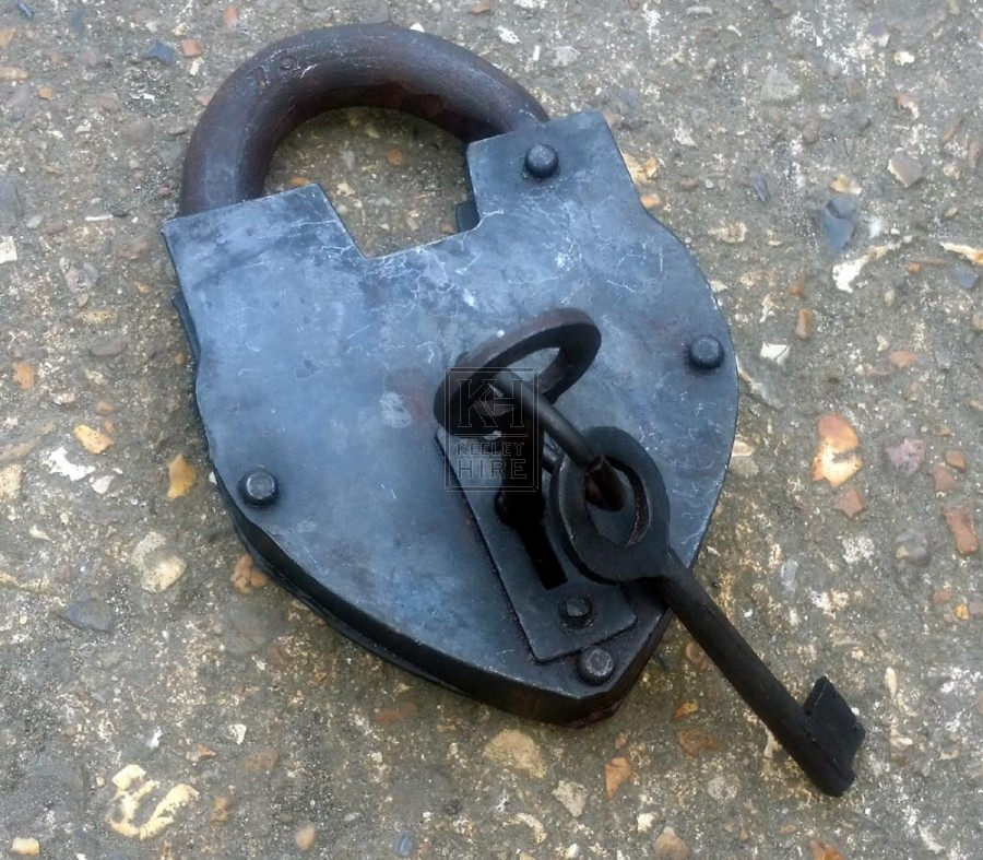 Shaped iron padlock with key