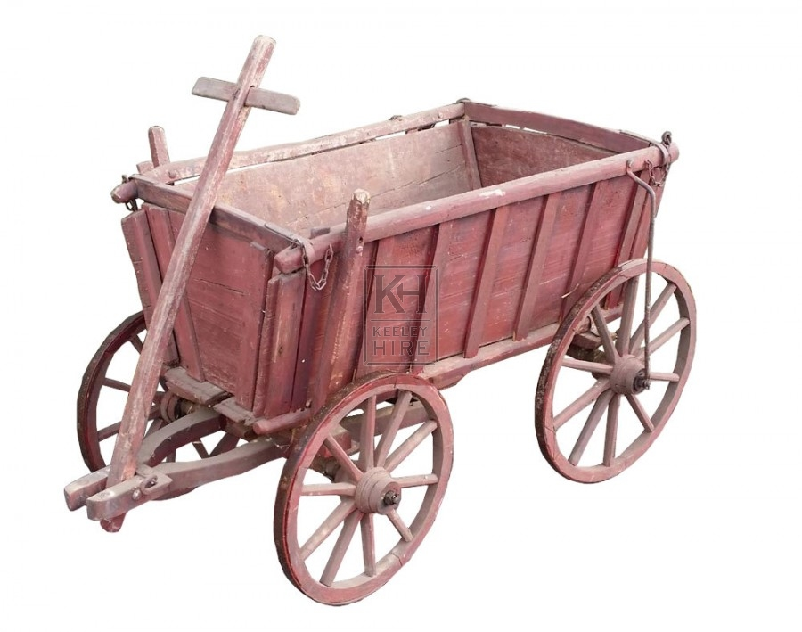 Aged red painted small cart with sides