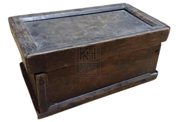 Small dark wood box with edge