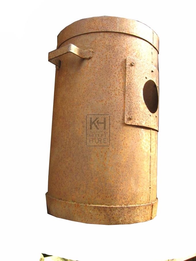 Iron brazier drum with handles