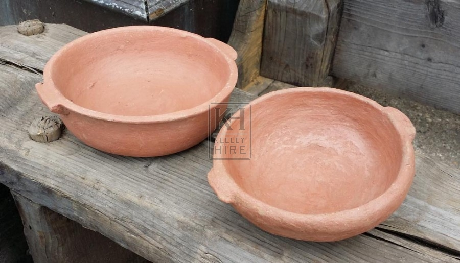 Small brown pottery bowls