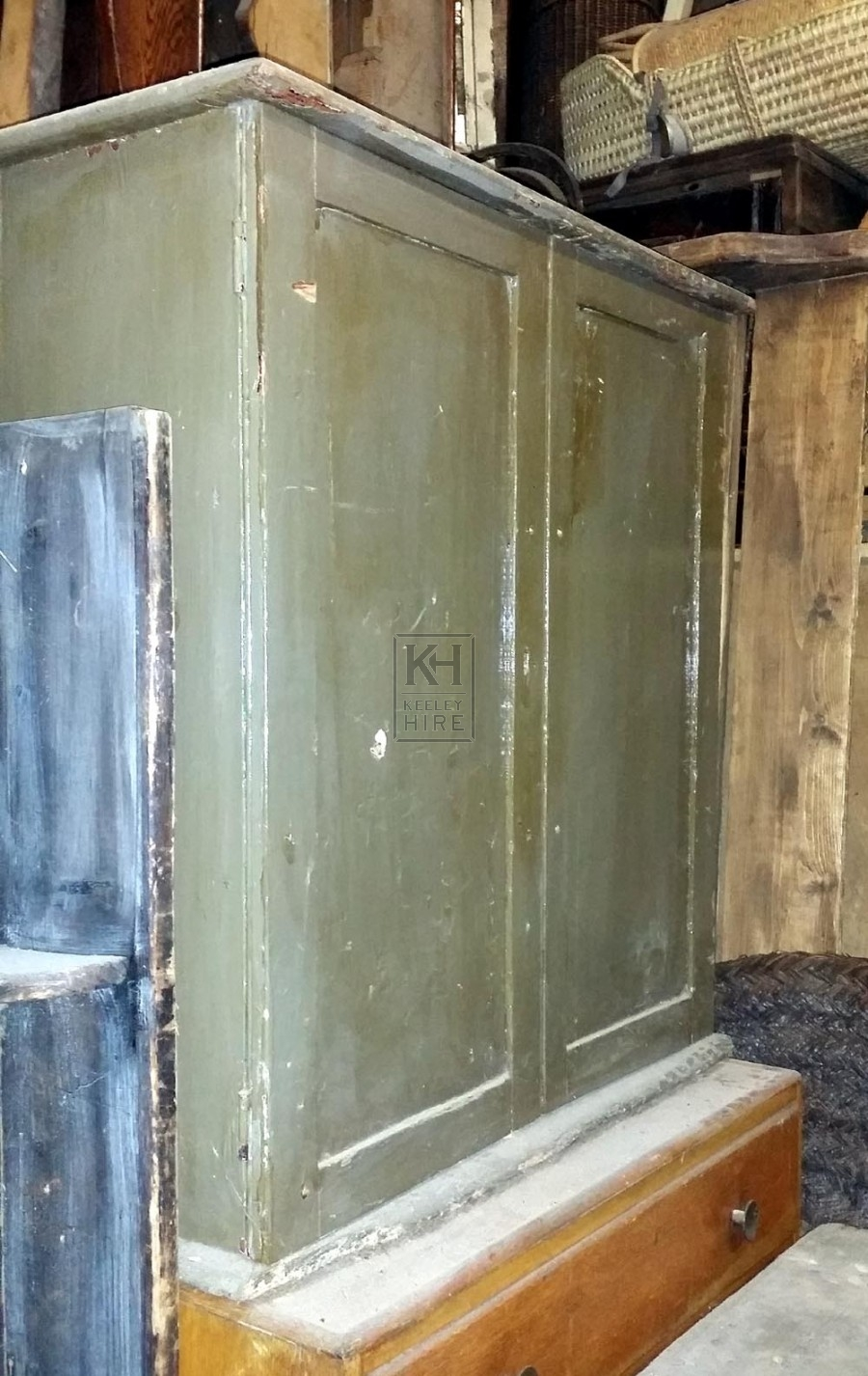 Green painted aged cupboard