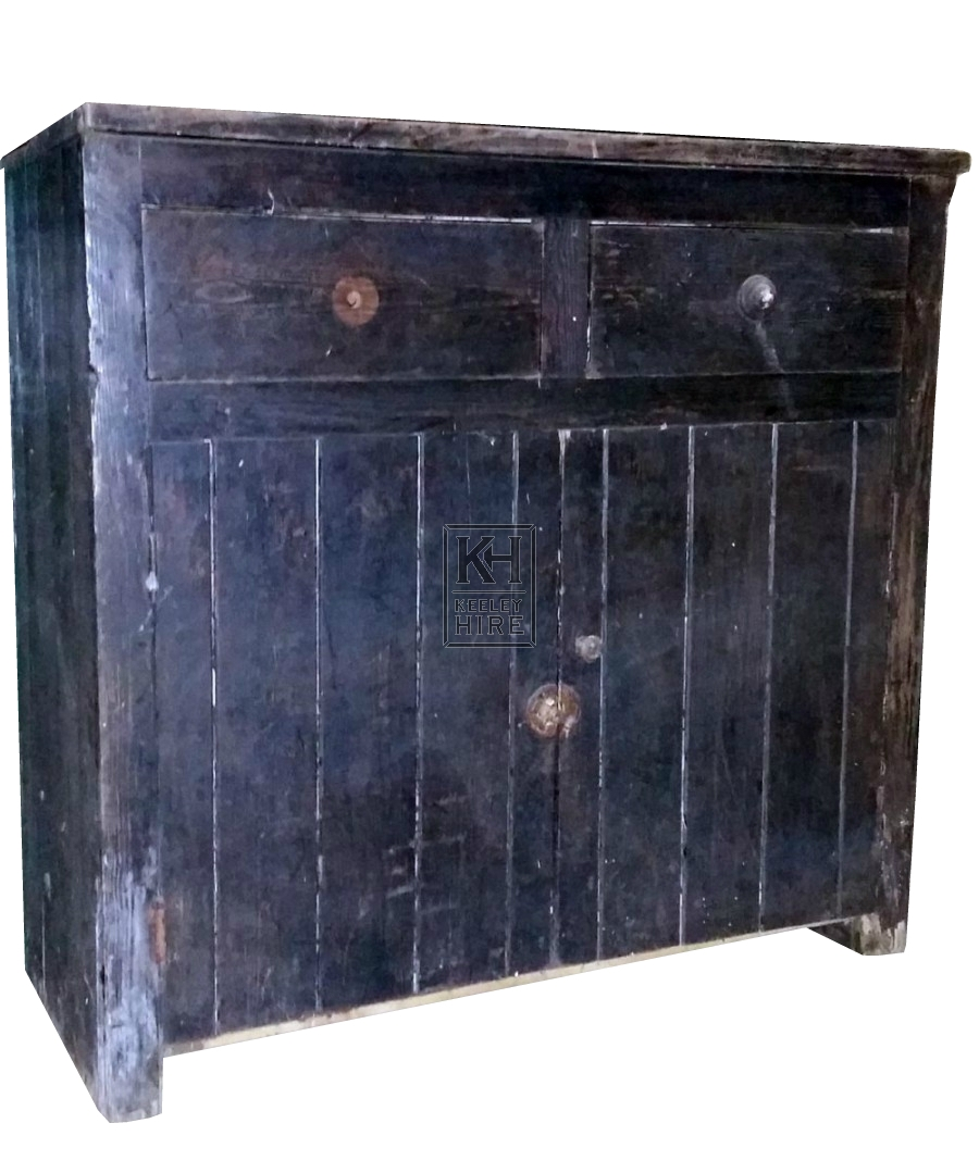 2-draw dark wood counter unit