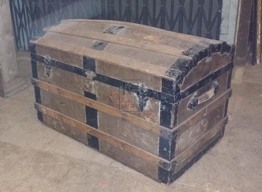 Dome chest with iron & wood banding