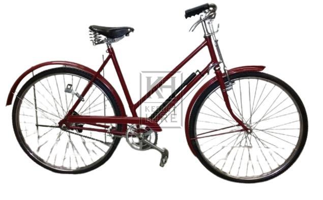 Burgandy ladies bicycle