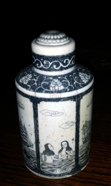 Small scrimshaw jar