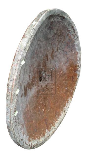 Very large beaten copper dish