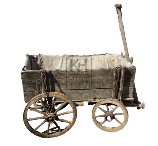 Small wood cart with sides