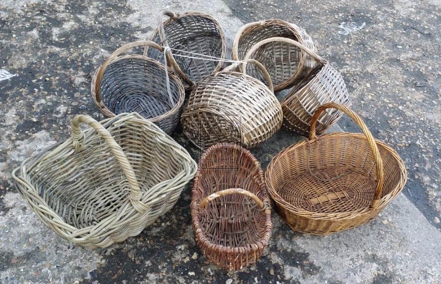 Assorted wicker hand baskets