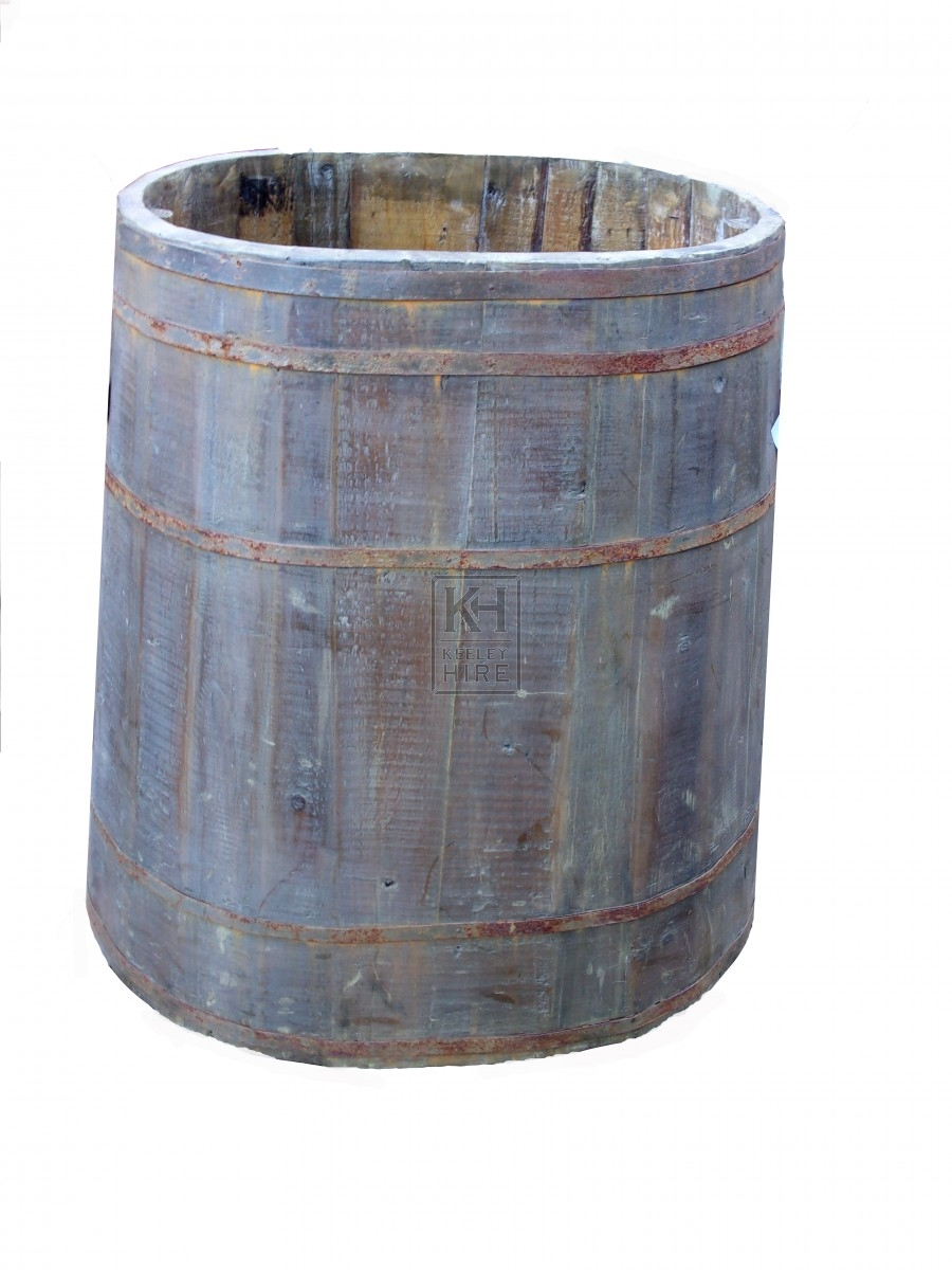 Large oval wood barrel
