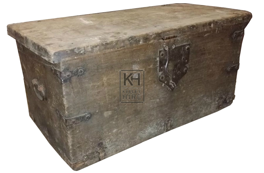 Large flat top trunk with iron hinges