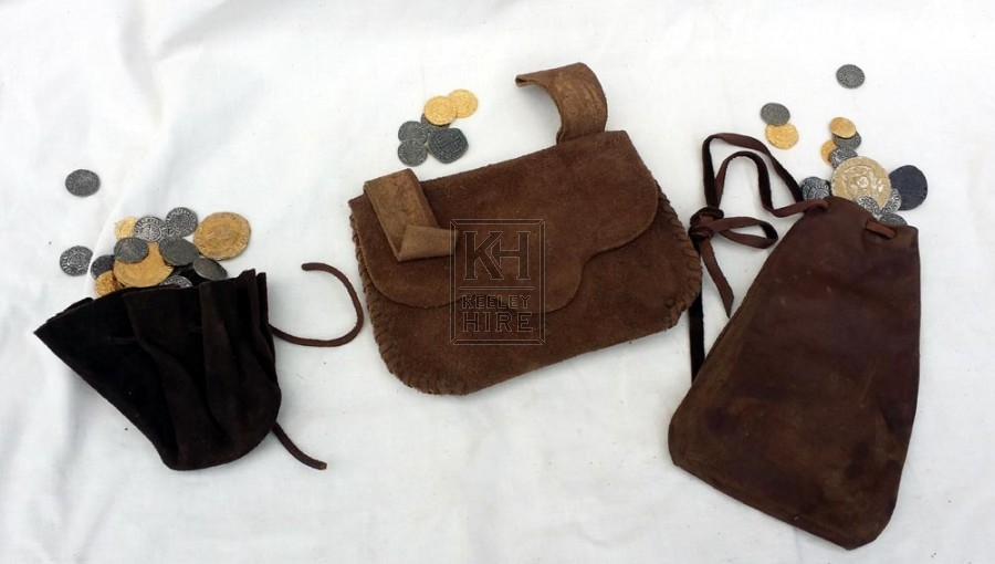 Assorted leather money pouches