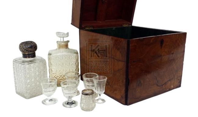Antique decanter set & box
