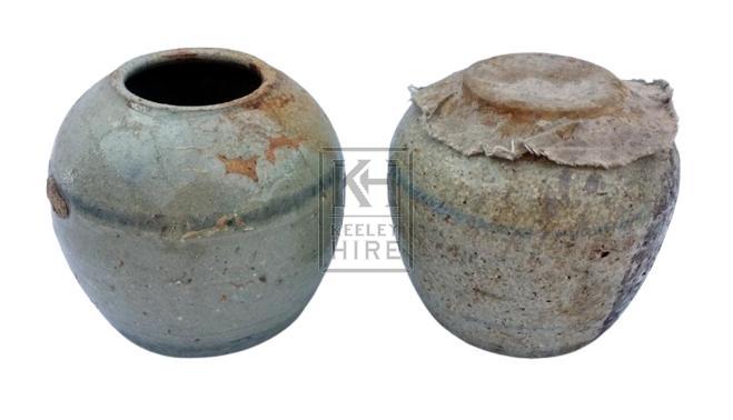 Small dumpy ceramic jar