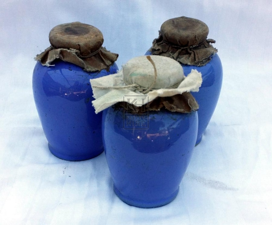 Small blue ceramic jar