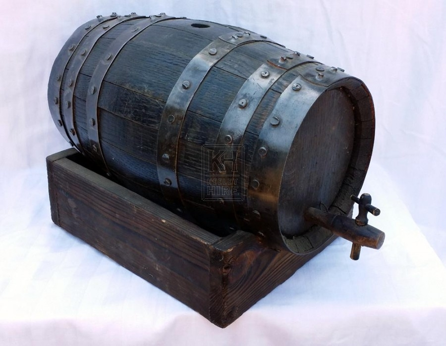 Small iron banded barrel on counter