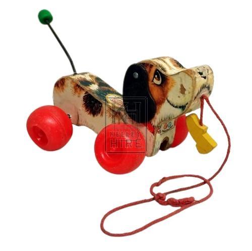 70s toy dog on wheels