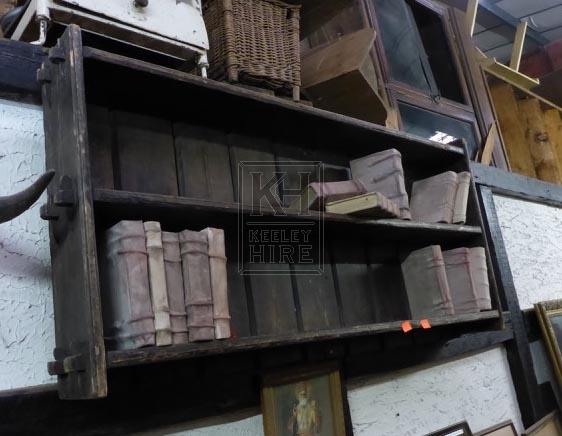 Dark wood wall shelf unit