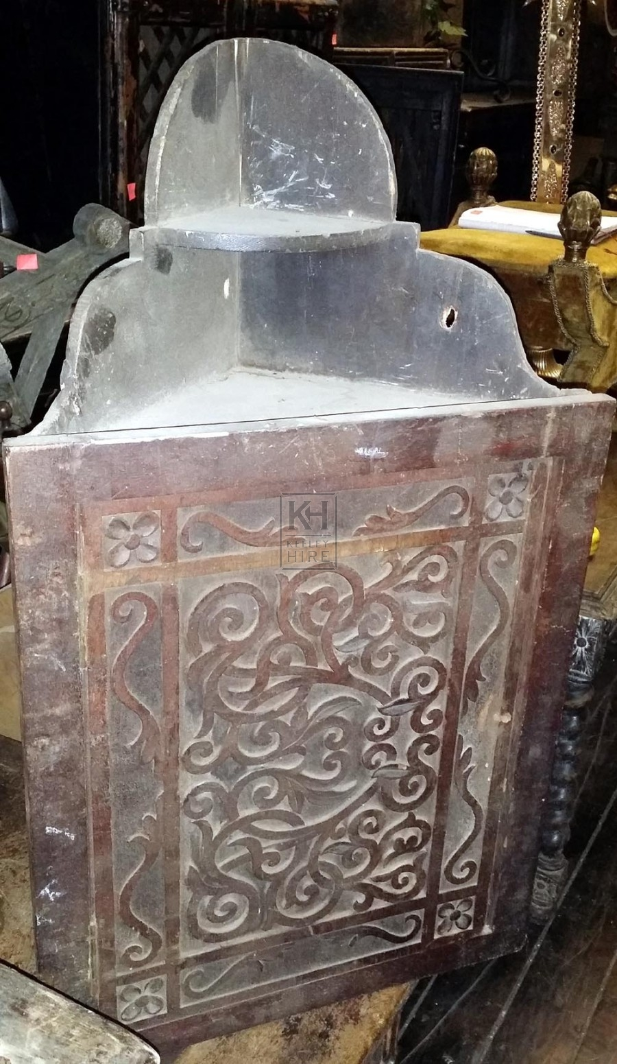 Carved corner wall cupboard