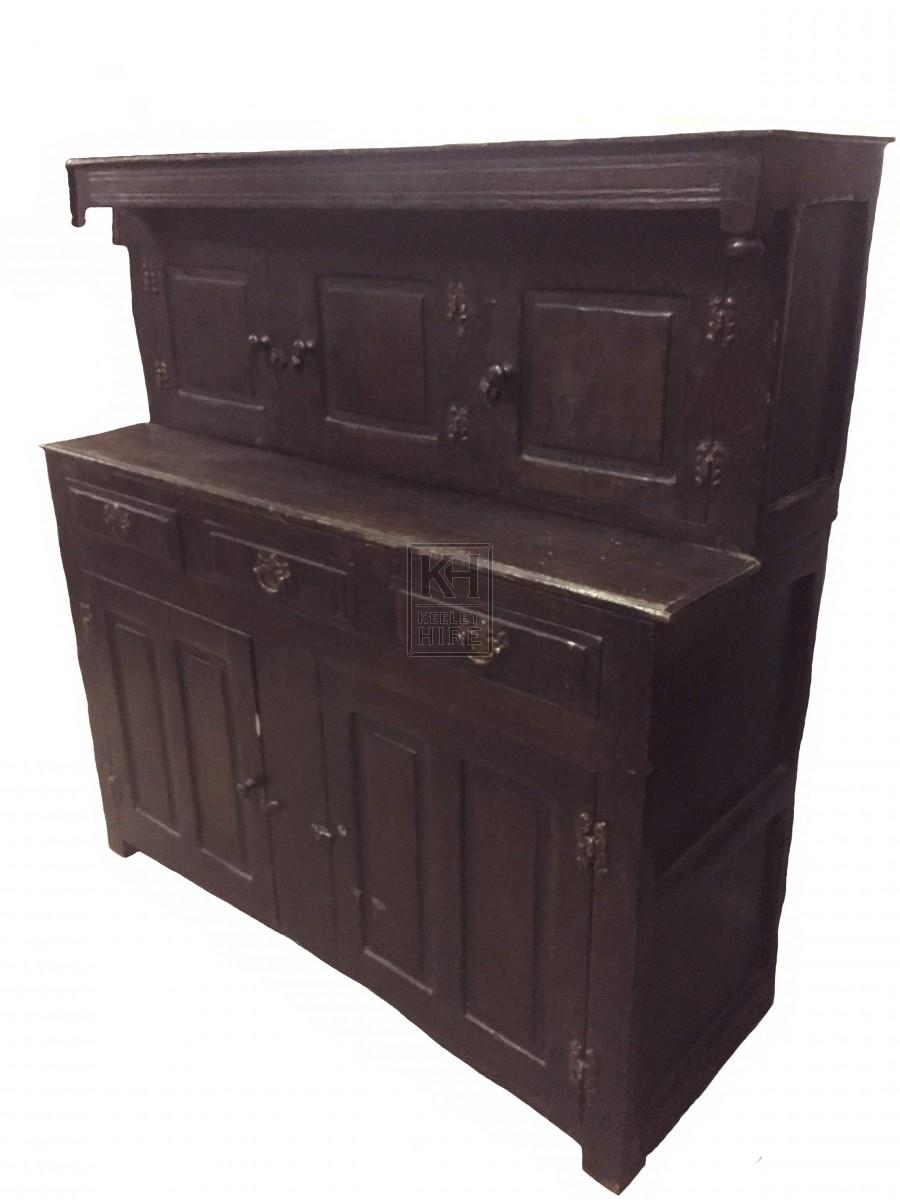 Dark wood court cupboard