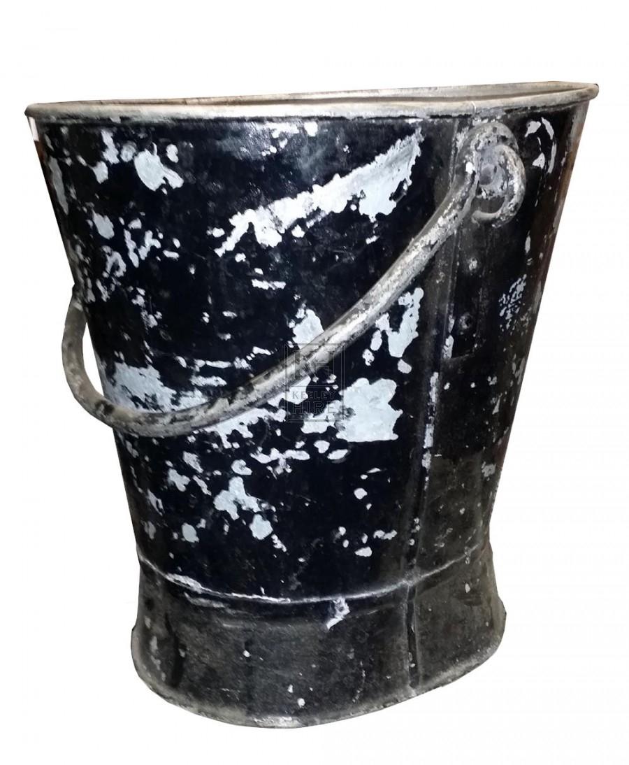Large metal black bucket