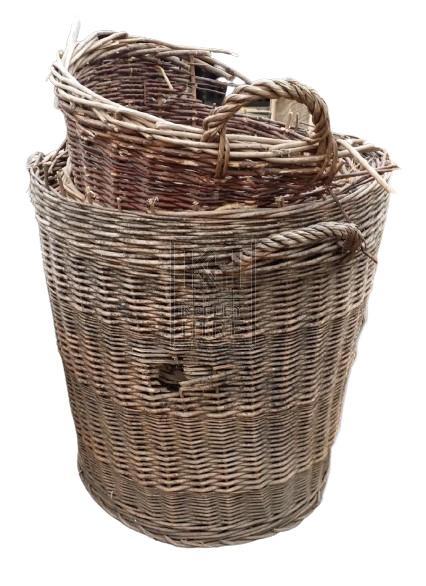 Broken wicker baskets