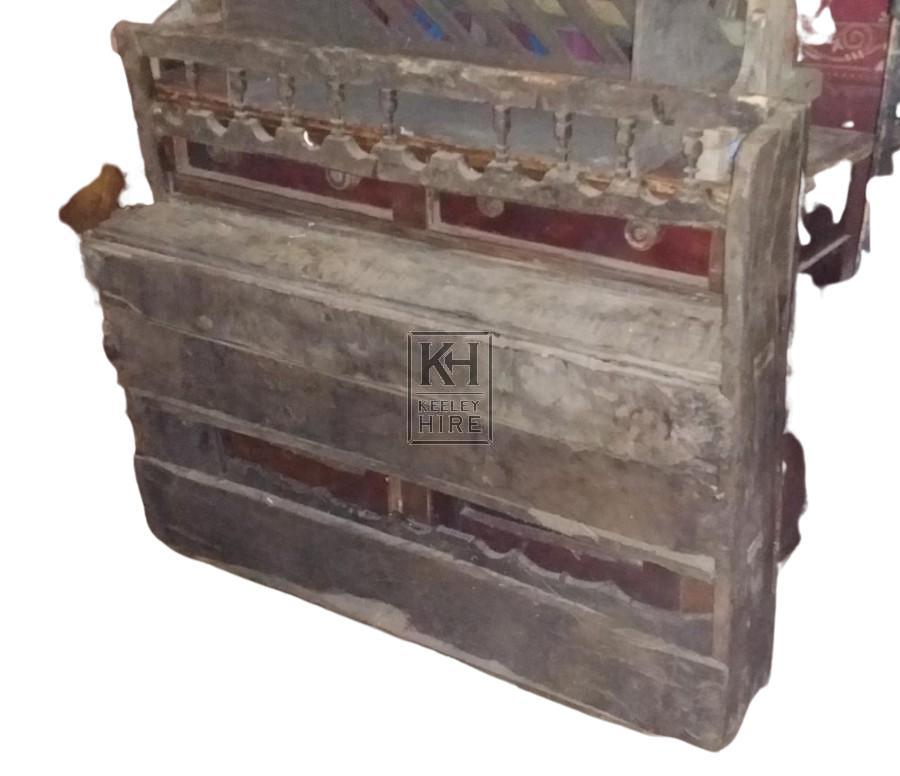 Carved dark wood shelf unit