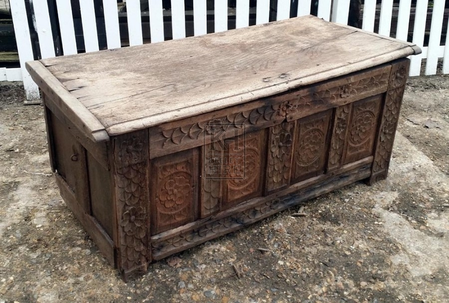 Large dark wood carved coffer chest