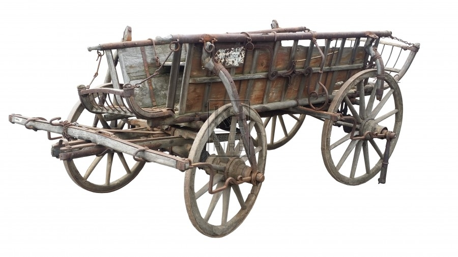 Large slatted 4-wheel farm cart