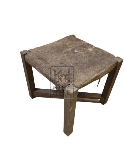 Plain square low stool