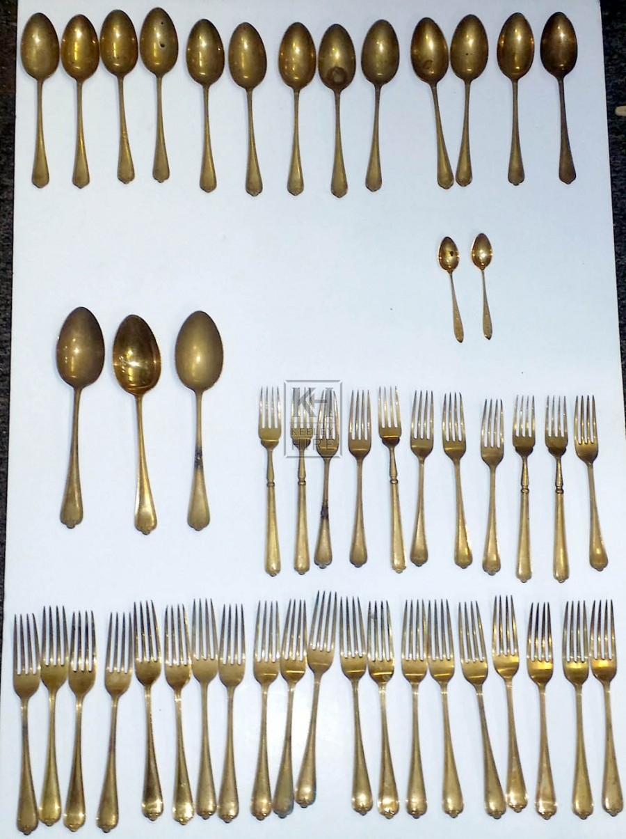 Gold cutlery spoons