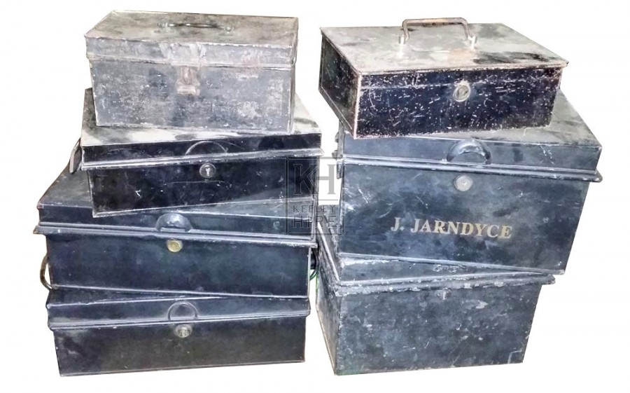 Assorted deed boxes - small & medium