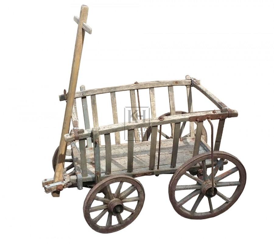 Small slatted 4-wheel cart
