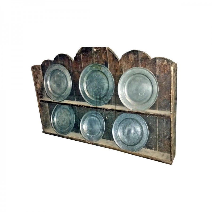 Wood wall rack with 6 pewter plates