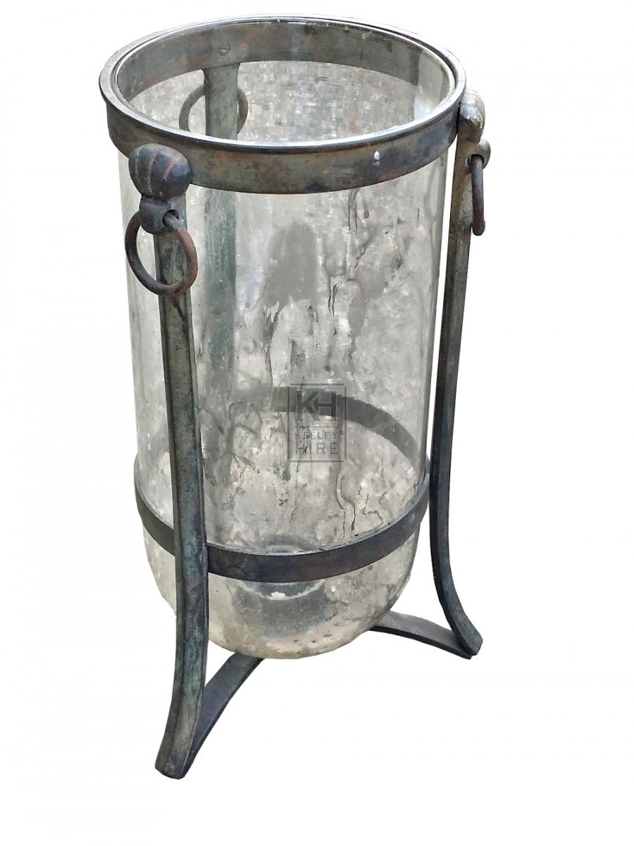 Glass rounded bottom jar with iron trive