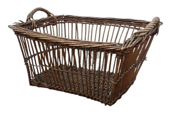 Rectangle slatted wicker basket & handle