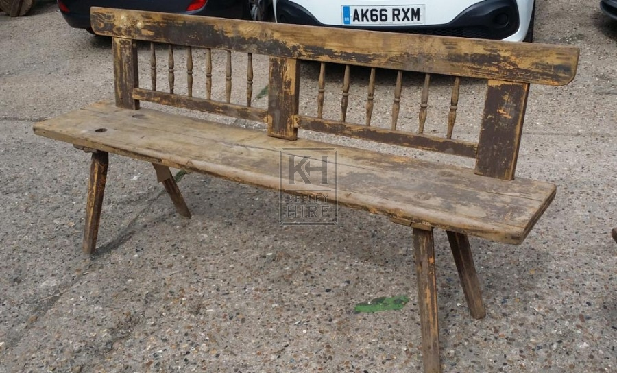 Long bench with back